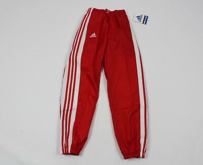 Vintage 90s New ADIDAS Youth Large Nylon Soccer Joggers Jogger Pants Red White