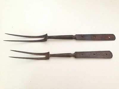 Lot of 2 Vintage Antique Wrought Iron Roasting Forks