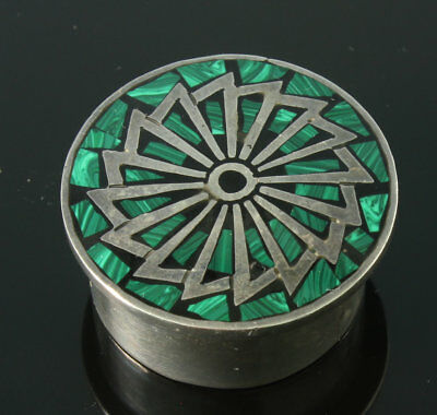 Vintage Taxco Mexco 925 Pill Snuff Box Malachite & Sterling Signed