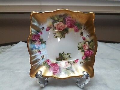 "Vintage Royal Chelsea ""golden Rose"" Candy Dish Or Sweet Meat Heavy Gilt"