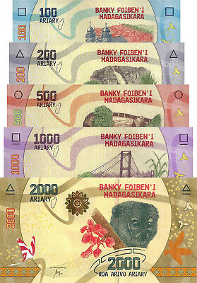 Madagascar 5 Note Set: 100 to 2000 Ariary (ND/2017) - Flora and Fauna/pNew