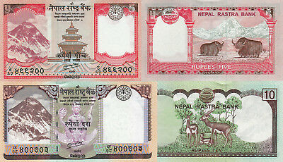 Nepal 2 Note Set: 5 & 10 Rupees (2012) - p69 and p70 UNC