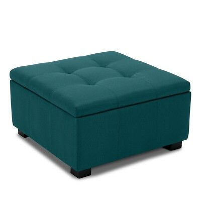 Indoor Living Room Bedroom Upholstered Storage Tufted Ottoman Foot Bench, Teal