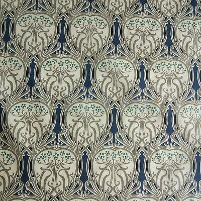 Art Nouveau Cotton Lawn Fabric 145cm Wide in Navy William Morris Style