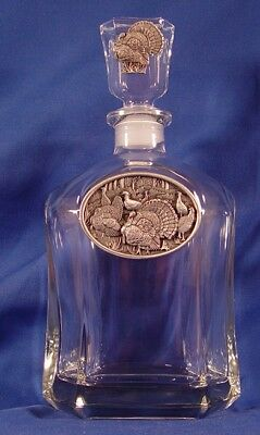Glass Decanter with Pewter Turkey Medallion New in Box (B)