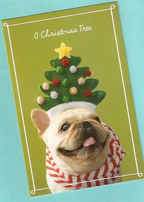French Bulldog Glittery Christmas Tree Christmas Cards Box of 14
