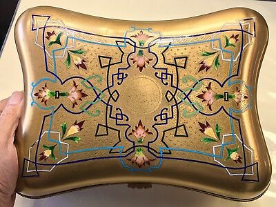 Large Antique French Gilt Brass & Champleve Enamel Jewelry Casket
