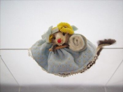 Mini Fur Mouse in Blue Dress 1970's Little Mouse Factory - Germany Real Fur