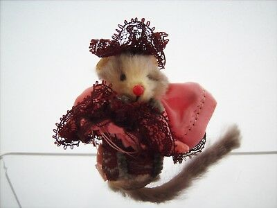 Mini Fur Mouse CAN CAN DANCER 1970's Little Mouse Factory - Germany Real Fur