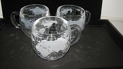 Set of 3 Vintage, 1970's, NESTLE Nescafe World Globe Glass Mugs