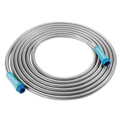 1/2 in Heavy Duty Spiral Constructed Stainless Steel Metal Garden Hose 25 ft