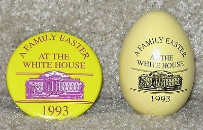*RARE* 1993 White House PIN + YELLOW Wooden Easter Egg Roll Bill Clinton *NEW*