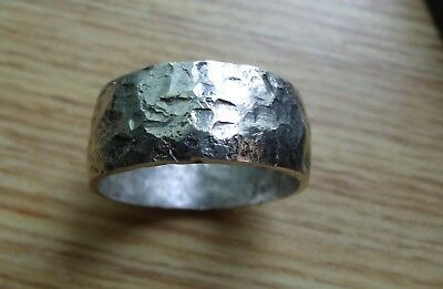 USA OK Hand Forged Ring .925 Silver Art. HAMMERED PURE STERLING SILVER RING