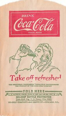 """COCA-COLA 1940s  illustrated """"no-drip bottle protector """"  TAKE OFF REFRESHED"""