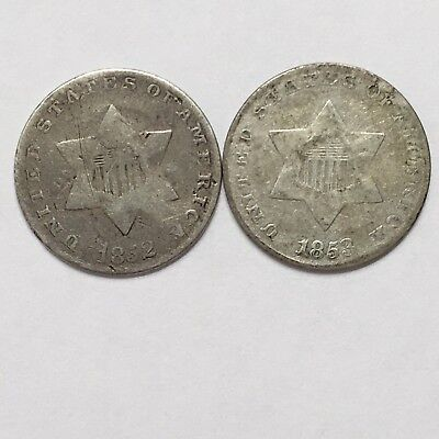 3 Cent Silver Coins - Lot of 2  (1852 and 1853)