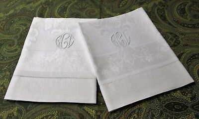 Pair Antique Linen Damask Bath Towels E C L Circular Monogram Daisies Roses