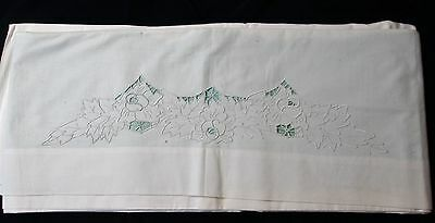 Antique Sheet Florals in Embroidery & Cutwork Unused Excellent Condition