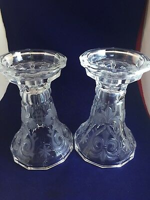 Vintage Pair Glass Candle Holders/ Vases with Frosted Fleur De Lis Design