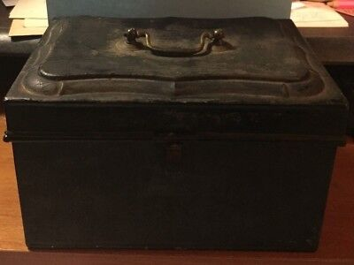 "Antique Cash Box / Black / Metal / 8""x5""x5"""