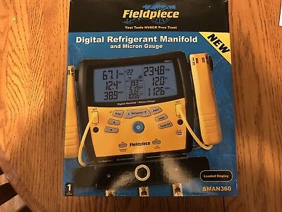 Fieldpiece SMAN360 3-Port Digital Manifold & Micron Gauge New