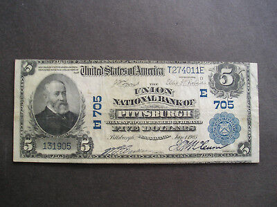Series of 1902 $5.00 The Union National Bank of Pittsburgh Pa.in VF Condition