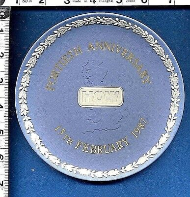 Wedgwood Light Blue Jasper Ware Commemorative Plate How Fortieth Anniversary