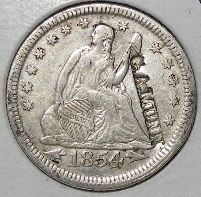 1854 Quarter Dollar With Counterstamp G. AMUNN Circulated Coin