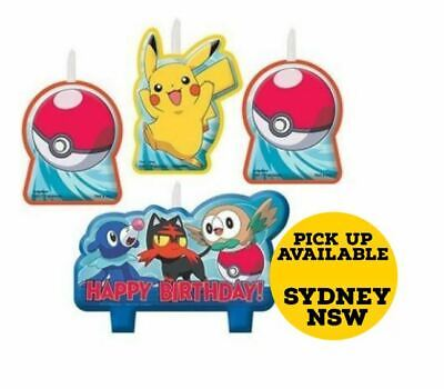 Pokemon Pikachu Candle Cake Set Birthday Party Supplies Pack of 4