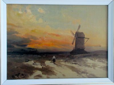 A. Fall, Antique Authentic Oil Painting Country Dutch Windmill Sunset Landscape