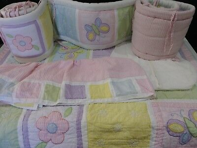 Baby Girls 4 Piece Crib Set, Quilt, Diaper Stacker, Bumpers, Crib Skirt