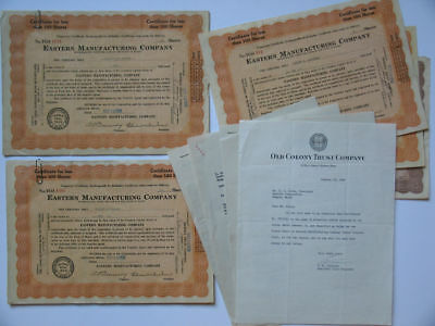 Eastern Manufacturing Company Maine lot of 31 Stock Certificates October 1929 ME