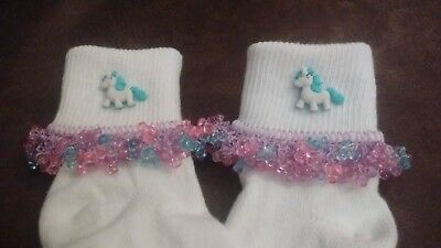 Cute Turquoise Unicorn Beaded socks, Lace, Ribbon all sizes Infant to Adult