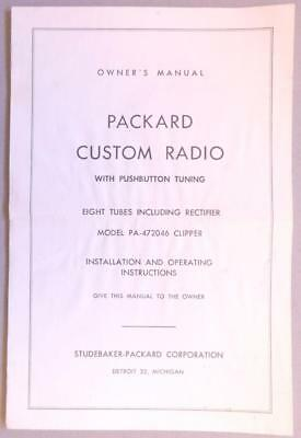 Packard Custom Radio Pushbutton Tuning Owner's Manual Studebaker- Pa B9S3