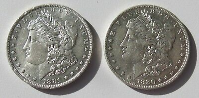 2x United States of America 1880 & 1881 Morgan One Dollar .900 Silver Coins