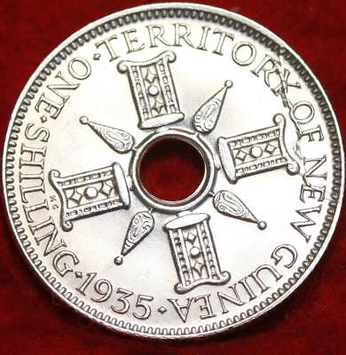 Uncirculated 1935 New Guinea One Shilling Silver Foreign Coin