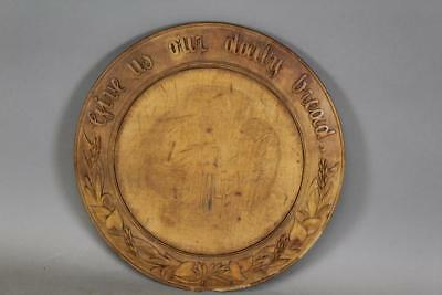 """Bold 19Th C Bread Board With Carved Wheat And Verse """"give Us Our Daily Bread"""""""
