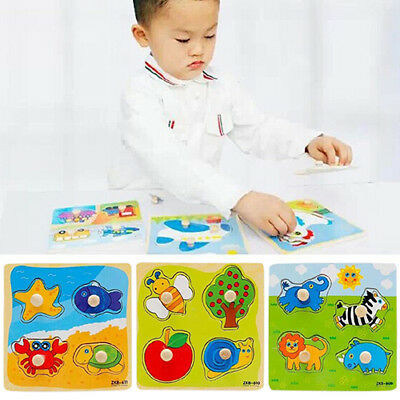 USA Baby Toddler Intelligence Development Animal Wooden Brick Puzzle Toy Gift