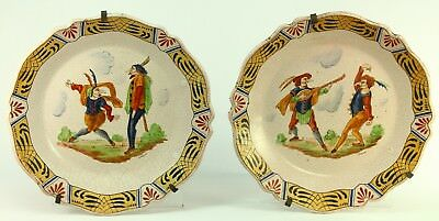 Antique French Pair Faience Plates w. Jesters aft. JACQUES CALLOT (1592 ! & PAIR 2 FRENCH Faience Plates -