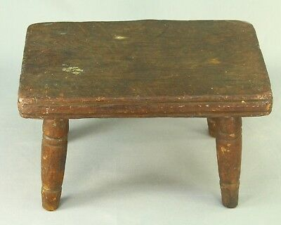 ! Antique Turned & Carved Wood Four-Leg Milking Stool Chair Treen