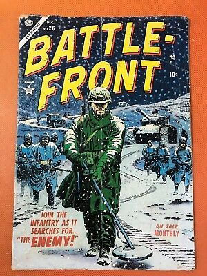 Rare 1954 Atlas BATTLE FRONT #26 * Classic MINE SWEEPER SNOW Cover *VIOLENT WAR!