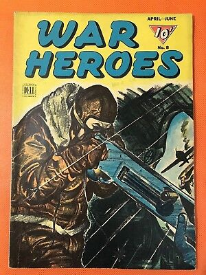 Rare 1944 Dell WAR HEROES #8 * Classic SHOT DOWN BY BOMBER Cover * Great Book!