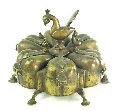 ! Antique Indian Bronze KUMKUM Box Spice Urn Container Kumkuma Tikka w. Bird