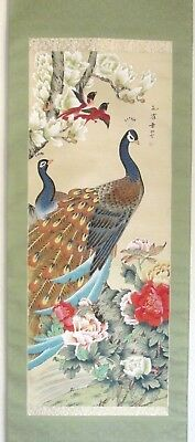 Japanese Hanging Scroll Peacocks and Birds ~ Hand Painted Artist Signed HS003