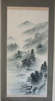Japanese Hanging Scroll A Place in Mountains ~ Hand Painted Artist Signed HS004