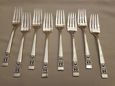 Oneida CORONATION 8 Salad Forks ~ 6 5/8'' ~ Silverplate EXCELLENT