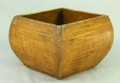 ! Antique Chinese Dovetailed Wood Grain/Rice Measure Container Signed