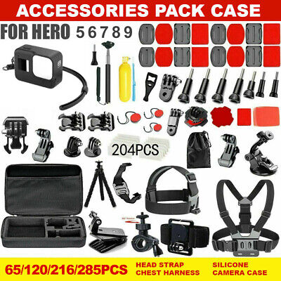 216pcs Accessories Pack Case Chest Head Floating Monopod GoPro Hero 7 6 5 4 3+2