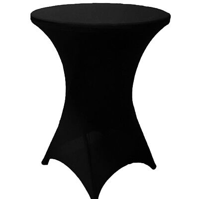 "32"" x 43"" Cocktail Spandex Fitted Stretch Tablecloth Table Cover Wedding Black"