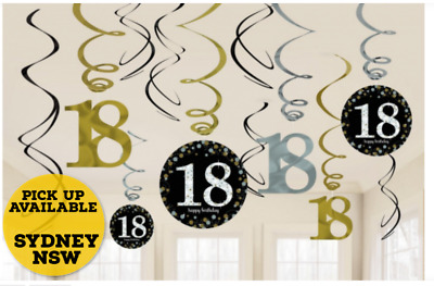 Hanging Swirls 18th Sparkling Black Birthday Party Decorations Pack of 12