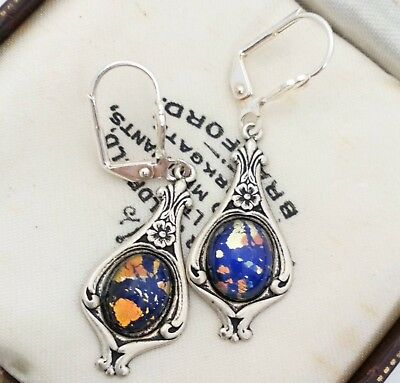 Vintage - 1950s CZECH Black Tiger Glass Opal Cabochon Art Nouveau Style Earrings